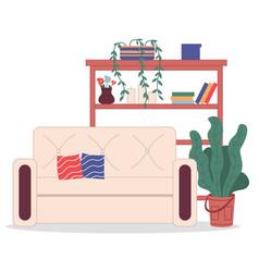 Cozy interior room at home comfortable beige vector