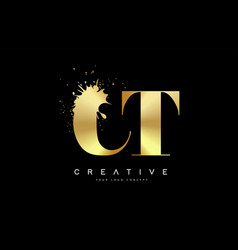 Ct c t letter logo with gold melted metal splash vector