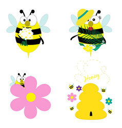cute bees collection eps 10 vector image
