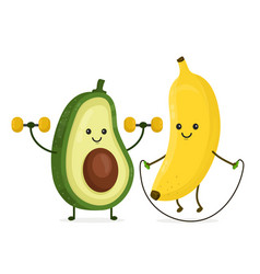 cute happy smiling banana and avocado vector image