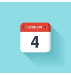 December 4 Isometric Calendar Icon With Shadow vector