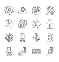digital money bitcoin line icons minimal vector image