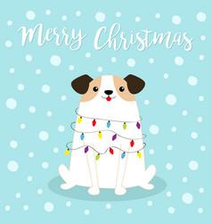 Dog fir tree shape merry christmas garland vector