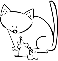 doodle cat mouse for coloring vector image
