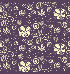 doodle floral pattern with white flowers on purple vector image