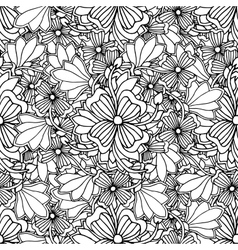 Doodle style floral garden seamless pattern vector