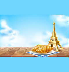 eiffel tower french croissant at dish set vector image