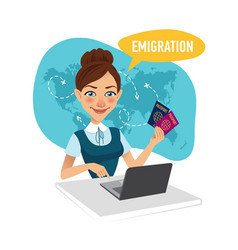 Employee of company prepares visas for migrants vector