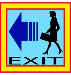 Exit emergency sign door with human figure label vector