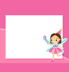 fairy frame design template for photos children vector image