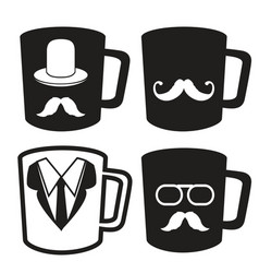 fathers day mug icons vector image