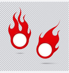 fire and flame sale tags set flat icon vector image