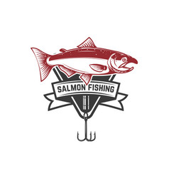 fishing emblem with salmon design element vector image