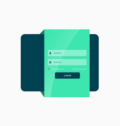 flat green login user interface template design vector image