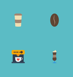 Flat icons coffeemaker plastic cup arabica bean vector