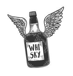flying whiskey bottle with wings sketch vector image
