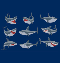 funny cartoon shark fish swimming imal sea vector image