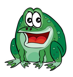 funny green frog character cartoon isolated vector image