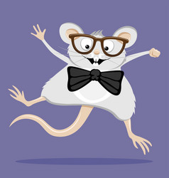 funny rat with glasses vector image