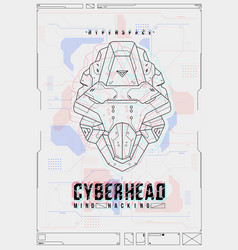 Futuristic poster with a robot head template vector