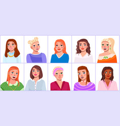 girls portraits to waist with different hairstyles vector image