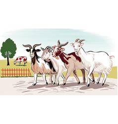 Goats run to return vector