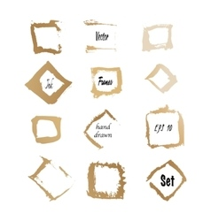 Golden ink square frames vector