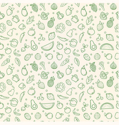 Green food seamless pattern vegetable fruits vector