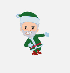Green santa claus shows very angry something to vector