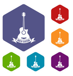 guitar icons hexahedron vector image