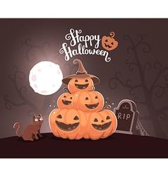 Halloween of pile of decorative orange pumpk vector