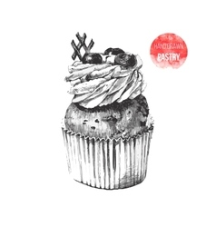 Hand drawn cupcake in vintage style vector image
