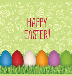 happy easter floral greeting card easter holiday vector image