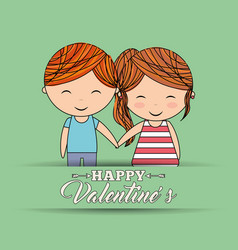 happy valentines cute couple holding hands love vector image