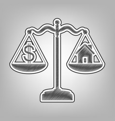 House and dollar symbol on scales pencil vector