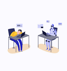 human and robot working at laptop desk - tired man vector image