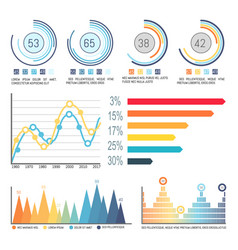 Infographic and pie diagrams curves visual info vector