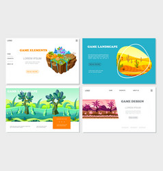 isometric game nature design websites set vector image