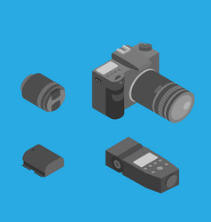 Isometric photography tools photostudio equipment vector