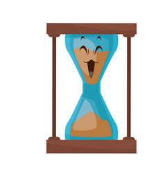 Kawaii sand clock time glass cartoon vector