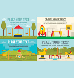 kid playground banner set flat style vector image