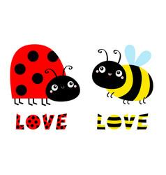 lady bug ladybird bee bumblebee insect icon set vector image