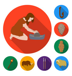 life in the stone age flat icons in set collection vector image