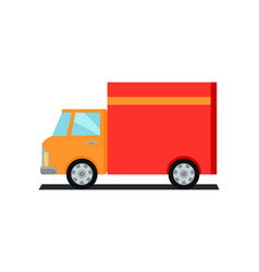 Lorry truck worldwide warehouse delivering vector