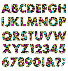 Mod neon flowers pattern alphabet vector