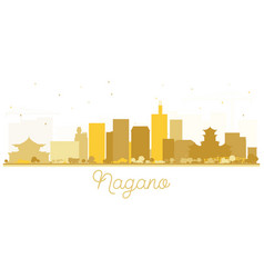 Nagano japan city skyline silhouette with golden vector