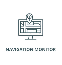 navigation monitor with map line icon vector image