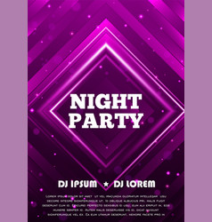 night party flyer template design vector image