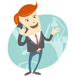 office man phone talking in front his working vector image