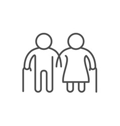 old people line outline icon vector image